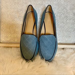 Talbots Blue Fabric Quilted Loafers